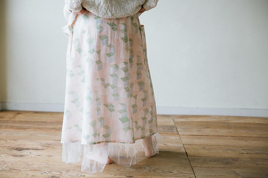大きなポケットのフレアスカートの型紙と作り方・製図