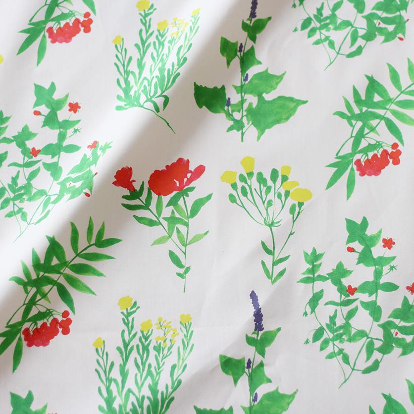 nunocoto fabric:wild flower(グレー)