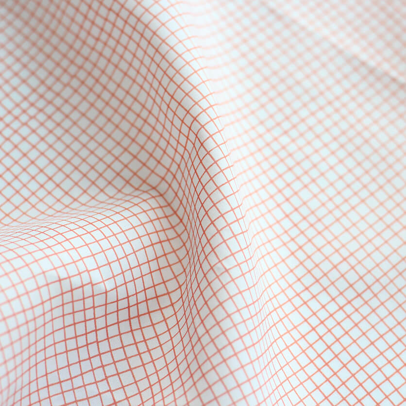 nunocoto fabric:line check(グレー×レッド)