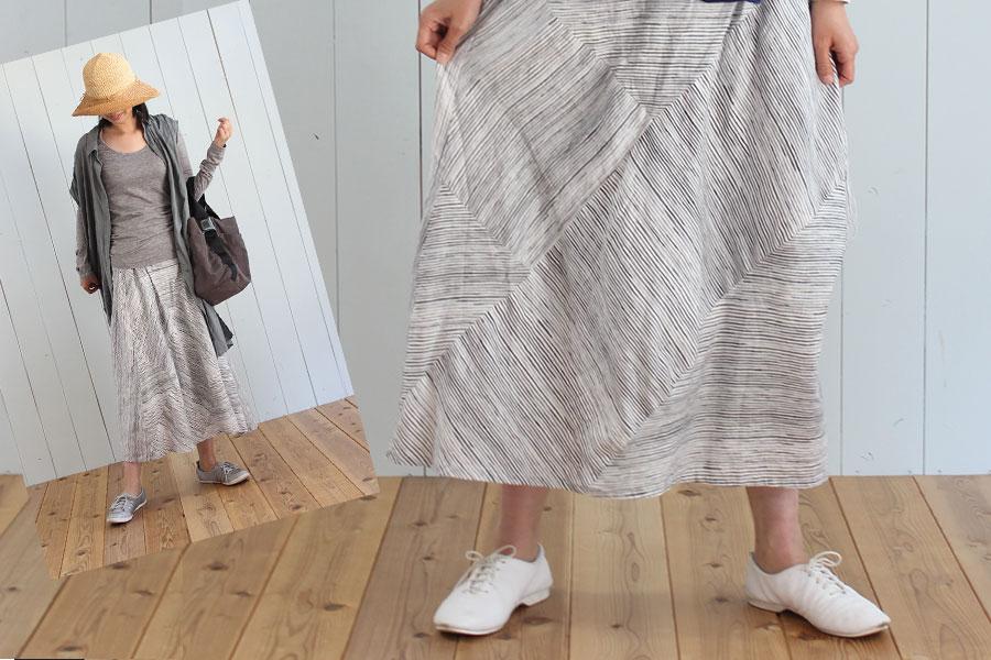 『きれいに見える「ひざ下20cmの服」』のパネルボーダースカートを作ってみました
