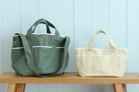 ポケットいっぱいで収納力抜群。ツールトートバッグ(ピクニックバッグ・ベジバッグ)の作り方
