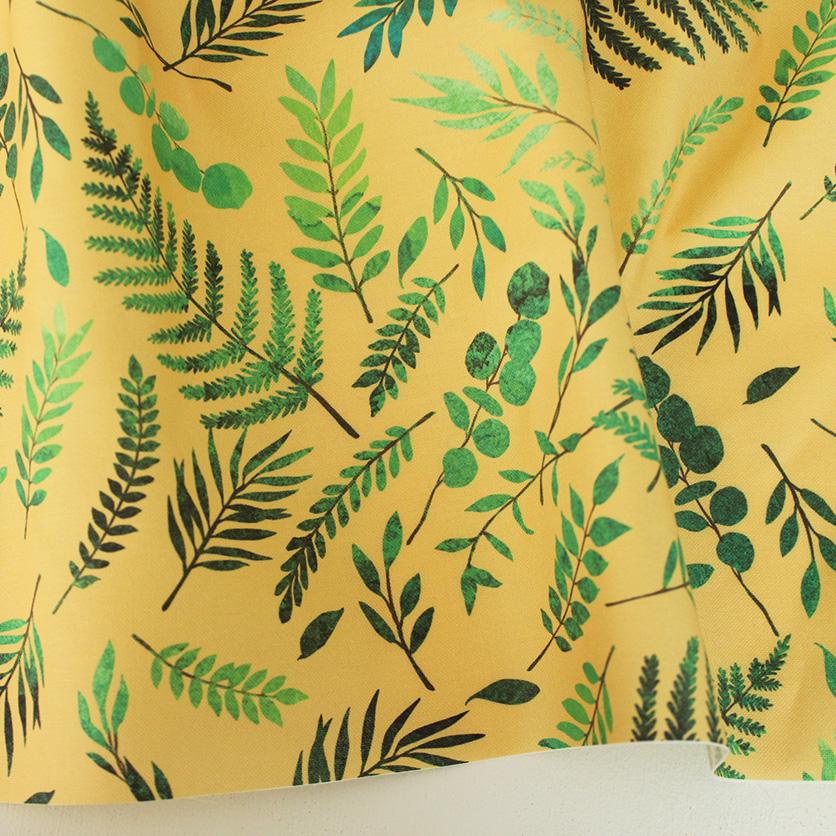 nunocoto fabric:wild grass(イエローベージュ)