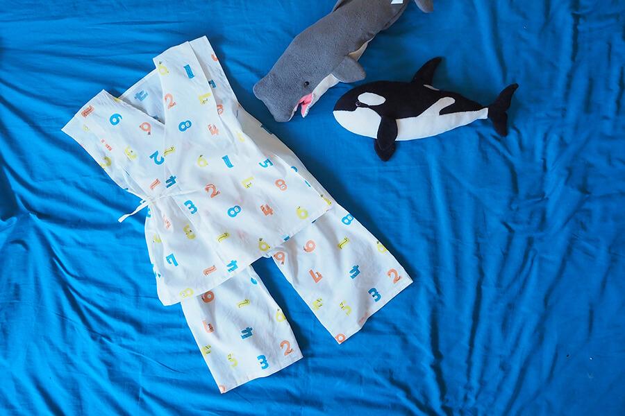 【型紙不要】【直線縫い】1mで上下作れる、甚平風こどもパジャマの作り方