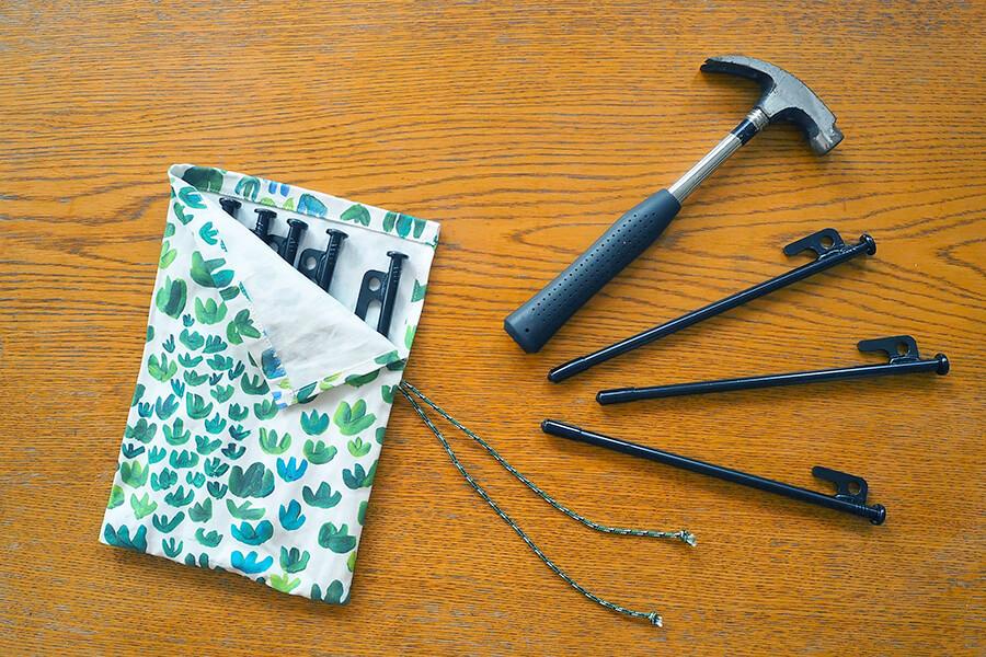 帆布(キャンバス生地)で作るペグ&ハンマーケース