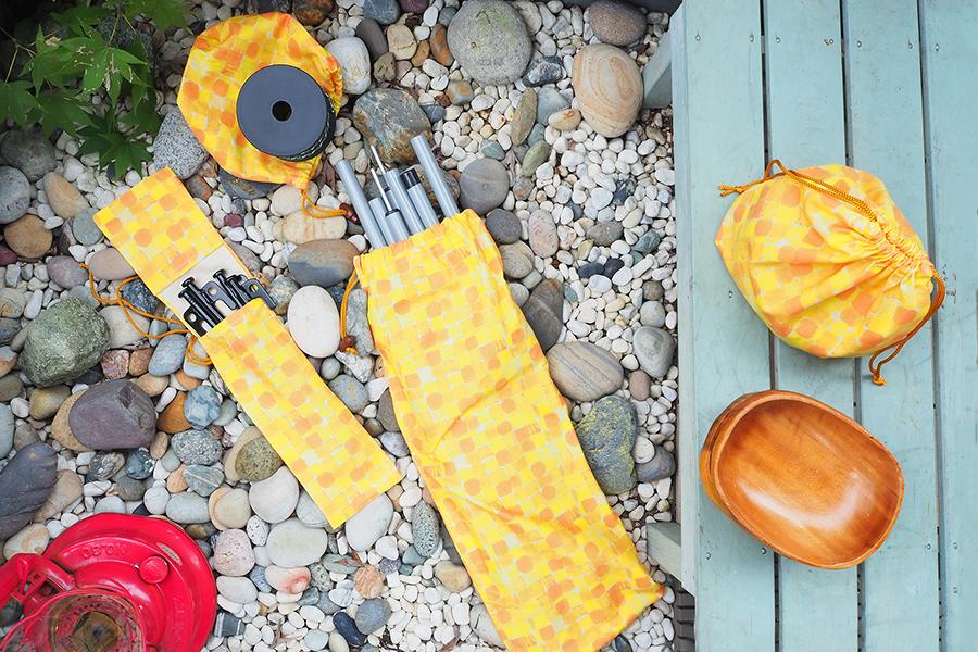 いろいろなタイプの巾着でアウトドアグッズを収納しよう!