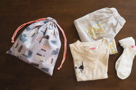 2枚仕立て(裏地つき)の巾着袋の作り方【体操着袋サイズ】