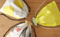 裏地を表にちらりと見せる巾着袋の作り方3種【体操着袋サイズ】