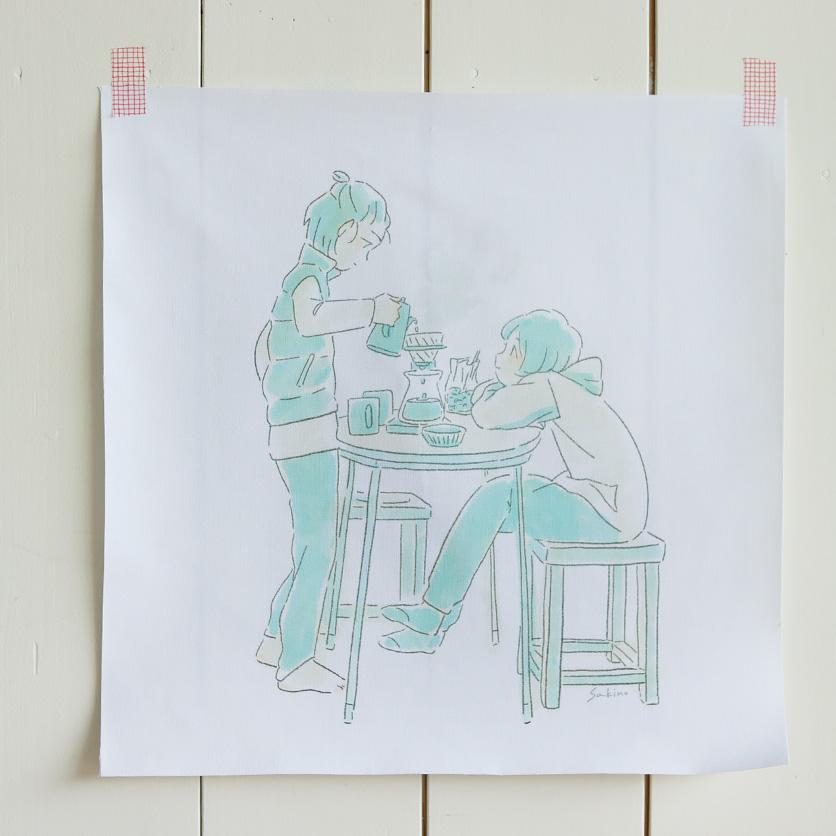 ファブリックポスター,コーヒータイム,水元さきの