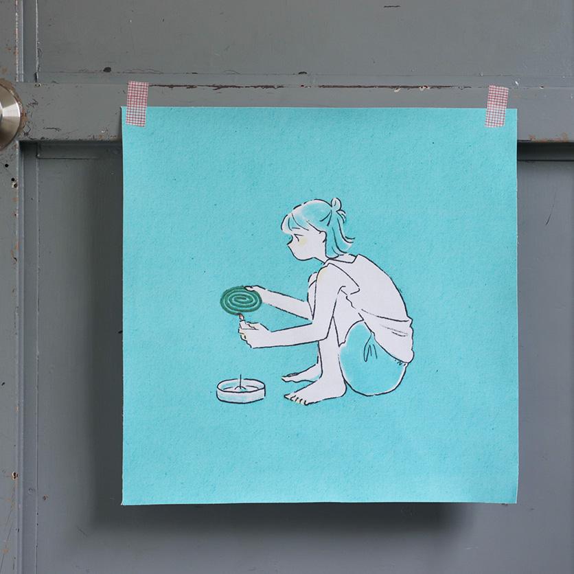 ファブリックポスター,蚊取り線香,水元さきの