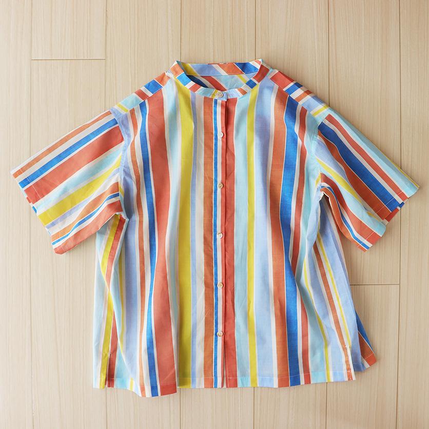 オフネックスタンドカラーシャツ